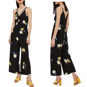NEW TOPSHOP Petite Black Floral Wide Leg Jumpsuit